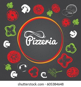 Pizzeria identity concept. Chalkboard toppings as frame on blurred background. Pizza lettering logo.