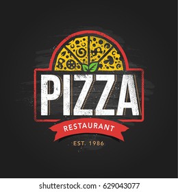 Pizzeria logo template. Vector emblem for cafe, restaurant or food delivery service.