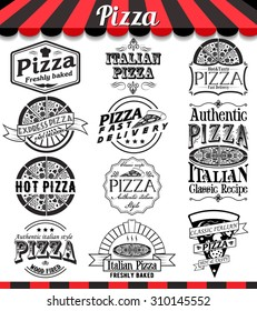 """Pizzeria menu vintage design elements and badges set. Collection of vector pizza signs, symbols and icons. See more in set """"Labels"""" of my portfolio"""