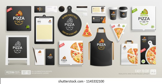 Pizzeria restaurant Black Brand Identity mock-up set vith different vector pizza slices. Branding bundle of vegetarian pizza box, pizzeria flyer, coffee paper cups, stationary items, uniform