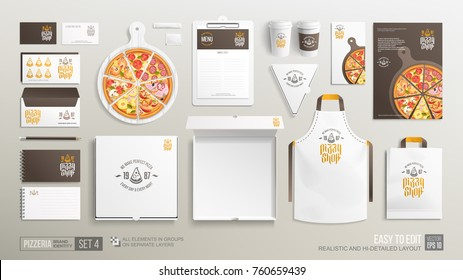 Pizzeria restaurant brand identity mockup set. Realistic branding set of pizzeria poster, open pizza box, flyer, menu, bag, uniform. Pizza mockup for corporate style presention and logo design
