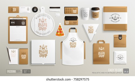 Pizzeria Restaurant Corporate Brand identity Mockup set. Realistic MockUp set of pizza logo, delivery box, uniform, street menu, paper food package. Take away Pizza Shop mock up