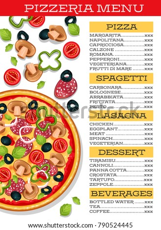 pizzeria restaurant menu template pizza vegetables stock vector