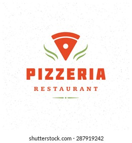 Pizzeria Restaurant Shop Design Element in Vintage Style for Logotype, Label, Badge and other design. Pizza retro vector illustration.