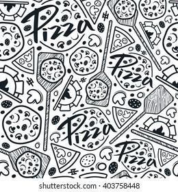 Pizzeria seamless pattern. Black print on white background
