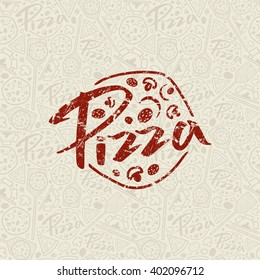 Pizzeria seamless pattern and emblem with shabby texture