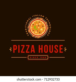 Pizzeria Vector Emblem on Blackboard. Pizza Logo Template. Vector Emblem for Cafe, Restaurant or Packaging.