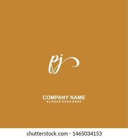 PJ Initial handwriting logo vector - Shutterstock ID 1465034153