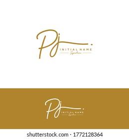 PJ Initial letter handwriting and signature logo.