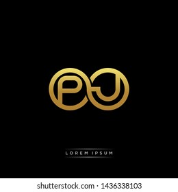 PJ initial letter linked circle capital monogram logo modern template