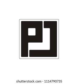 PJ letter square vector logo