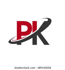 PK initial logo company name colored red and black swoosh design, isolated on white background. vector logo for business and company identity.