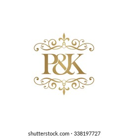 P&K Initial logo. Ornament ampersand monogram golden logo