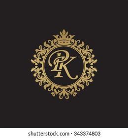 PK initial luxury ornament monogram logo