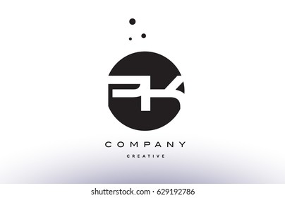 PK P K alphabet company letter logo design vector icon template simple black white circle dot dots creative abstract
