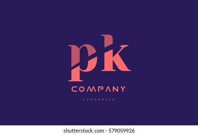 pk p k alphabet small letter blue pink creative design vector company logo icon template