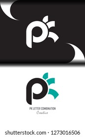 pk p k circle lowercase design of alphabet letter combination with infinity suitable as a logo for a company or business - Vector