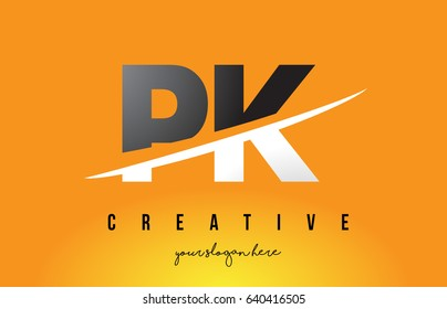 PK P K Letter Modern Logo Design with Swoosh Cutting the Middle Letters and Yellow Background.