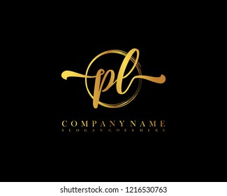PL initial handwriting logo circle template vector