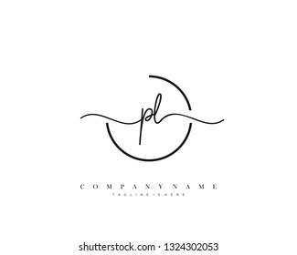 PL initial handwriting logo template vector