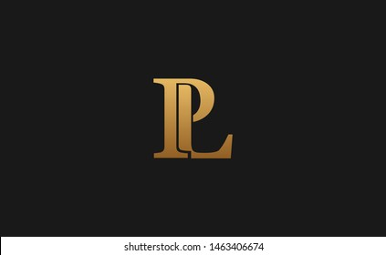 PL, LP initials logo template vector design with gold color