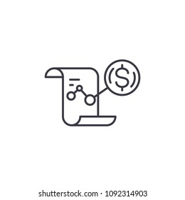 P&L report linear icon concept. P&L report line vector sign, symbol, illustration.