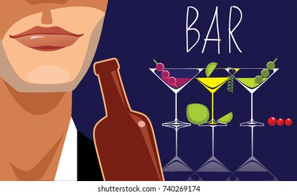 placard for bar, alcoholic beverages, cocktails, face men, drinking