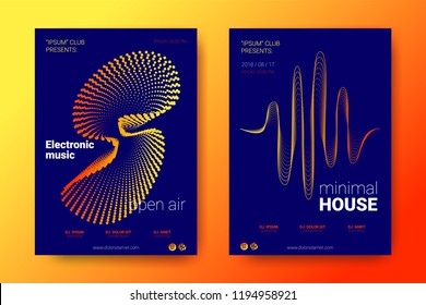 Placard of the Electronic Festival with the Illustration of Sound. Abstract Backgrounds with Gradient and Distortion of Rounds. Stripe Cover for Sound Event. Vector Stylized Equalizer. Sound Amplitude