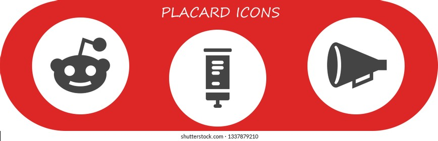 placard icon set. 3 filled placard icons.  Collection Of - Reddit, Roll up, Protest