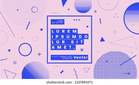 Placard template with abstract geometric shapes, 80s memphis bright style flat design elements. Retro art for covers, banners, flyers and posters. Eps10 vector illustrations