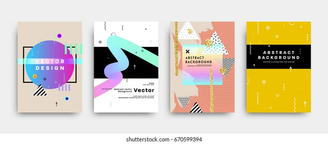 Placard template with abstract liquid bubbles shapes, 80s memphis geometric style flat and 3d design elements. Retro art for covers, banners, flyers and posters. Eps10 vector illustrations.