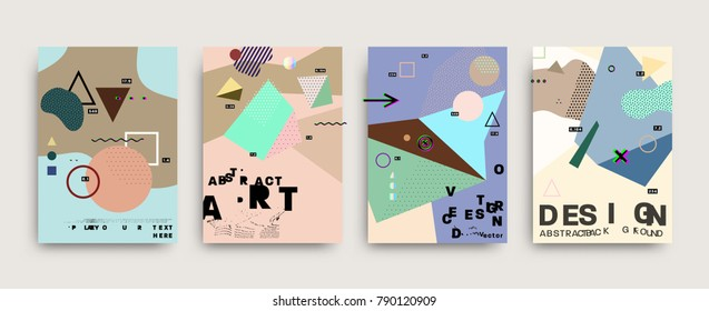 Placard templates set with abstract bubbles shapes, 80s memphis geometric style flat and 3d design elements. Retro art for a4 covers, banners, flyers and posters. Eps10 vector illustrations
