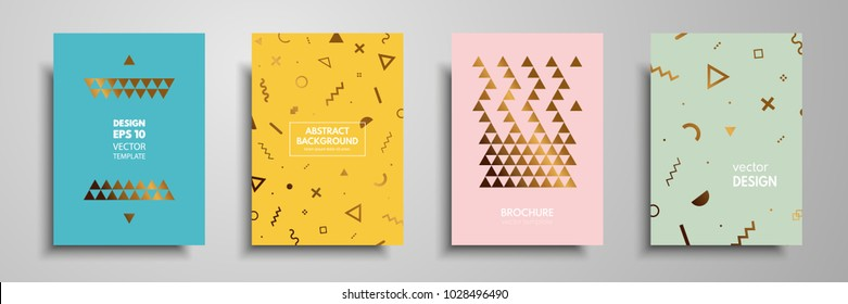 Placard templates set with abstract geometric elements. Design cards with gold elements. Applicable for placards, brochures, flyers, banners, book covers, notebooks.