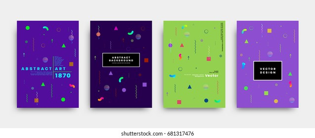 Placard templates set with abstract liquid bubbles shapes, 80s memphis geometric style flat and 3d design elements. Retro art for a4 covers, banners, flyers and posters. Eps10 vector illustrations