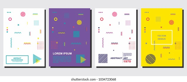 Placard templates set with abstract shapes, memphis geometric hipster style flat and line design elements. Art for a4 covers, banners, brochure, flyers and posters. Eps10 vector illustrations