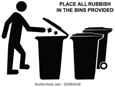 Place all rubbish in bins provided sign request and dumping waste into trash bin or garbage bin vector icon concept.