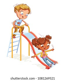 Place for children's games. Amusement park. Children's entertainment complex with stairs and slides in recreation park. Funny cartoon character. Vector illustration. Isolated on white background