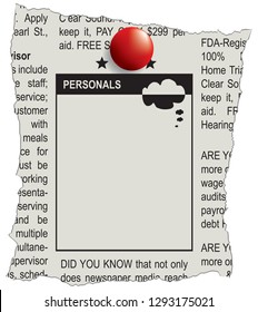 Place in the classifieds newspaper for advertising personals.