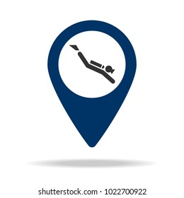 a place for diving in blue map pin icon. Element of map point for mobile concept and web apps. Icon for website design and development, app development. Premium icon on white background