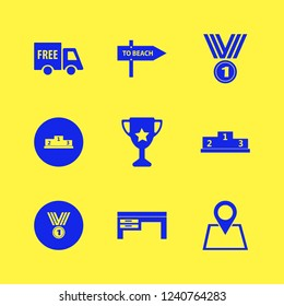 place icon. place vector icons set medal, free delivery, trophy cup and desk