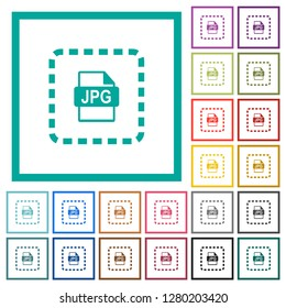 Place jpg file flat color icons with quadrant frames on white background