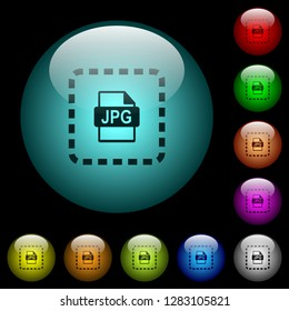 Place jpg file icons in color illuminated spherical glass buttons on black background. Can be used to black or dark templates