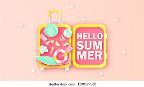 Place luggage on the sand beach open with the accessories inside the luggage. Text design of HELLO SUMMER. paper cut and craft style. vector, illustration.