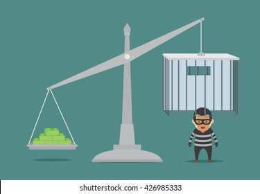 Place many bond in scales weight for prisoner release from prison. This illustration about bribery or meaning to bail.