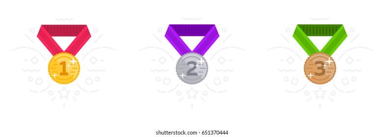 Place medal vector flat illustration. Gold, silver, bronze award.