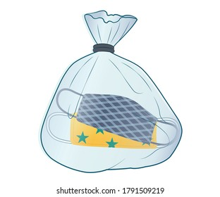 Place reusable mask in plastic bag before wear it again. Put face masks in plastic bag after use. Place mask in plastic bag until ready to wash.