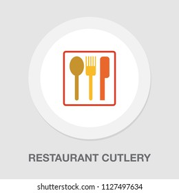Place setting with plate, knife and fork illustration isolated - restaurant cutlery menu icon