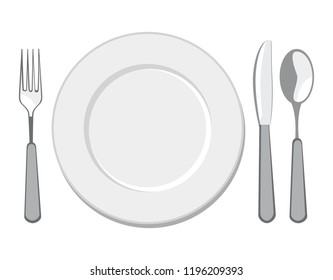 Place setting-A white plate with fork, knife and spoon isolated on white background. Top view