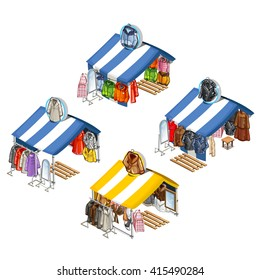 A place for street sales of jackets and fur coats. Isometric vector illustration.