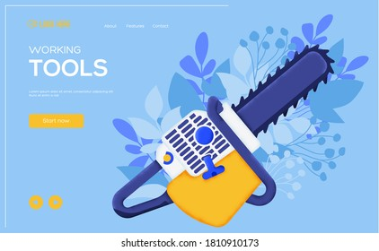 Place for text, place for copying. Chainsaw concept flyer, web banner, ui header, enter site. Layout illustration modern slider page. Grain texture and noise effect.